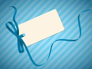 GIFT CARD WITH BOW (blue  birthday boy ribbon)