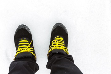 Shoe in white snow
