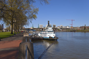 Portland waterfront steamboat and city view.