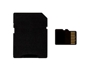 Micro sd card and adapter with clipping path