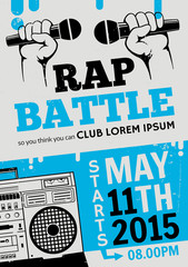 Rap battle, concert hip-hop music.Template design, flyer, poster