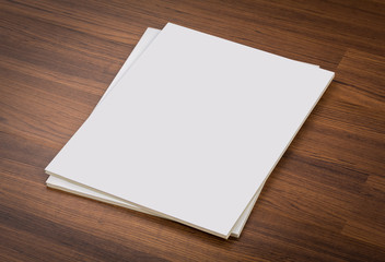 Blank catalog, magazines,book mock up on wood background , with
