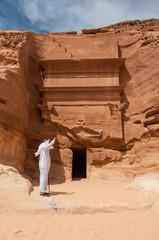 Saudian in Madaîn Saleh archeological site, Saudi Arabia
