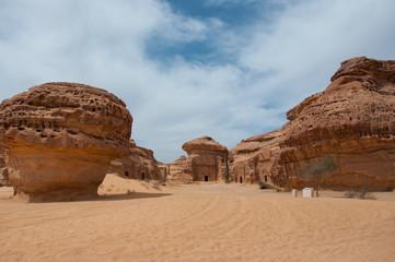 Nabatean tombs in Madaîn Saleh archeological site, Saudi Arabia