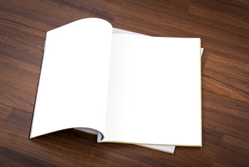 Blank catalog, magazines,book mock up on wood background ( with