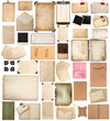 aged paper sheets, books, pages and old postcards isolated on wh - 80601936