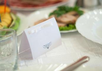 Nameplate on wedding