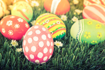 Easter Eggs with flower on Fresh Green Grass ( Filtered image pr