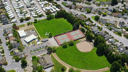 Aerial view of California School College tennis courts