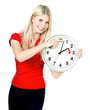 Time management concept. Daylight Saving Time. Young smiling wom