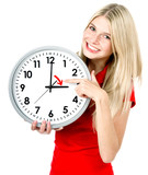 Young woman with a clock. Time management concept