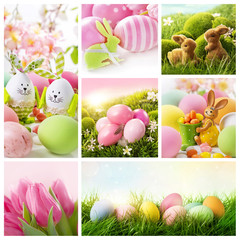 Collage with easter decoration