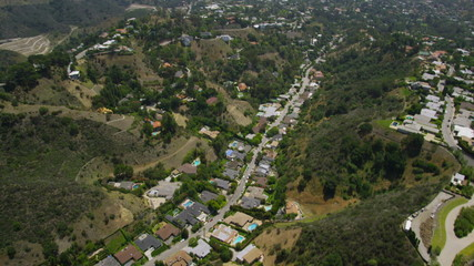 Aerial California Suburban valley  Homes