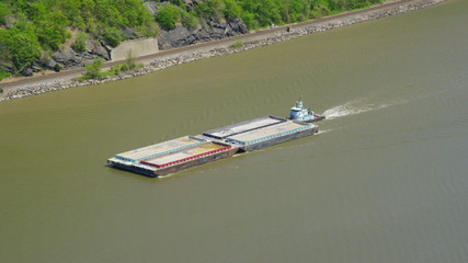 Aerial view of tug boat on Hudson River New York