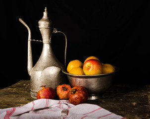 ewer and fruits