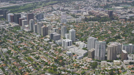 Aerial view of  Los Angeles cityscape and skyscrapers