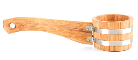 Oaken spoon for sauna, isolated on white
