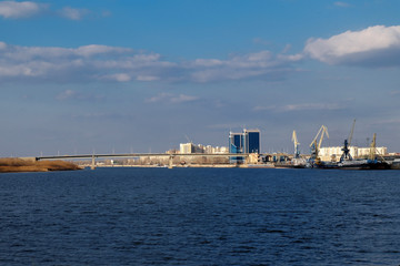 Volga river and Astrakhan city skyline (Russia)