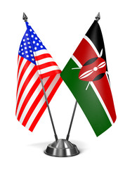 USA and Kenya - Miniature Flags.