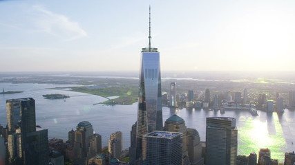 Aerial shot of One World Trade Center Freedom Tower