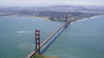 Aerial shot of Golden Gate Bridge San Francisco city