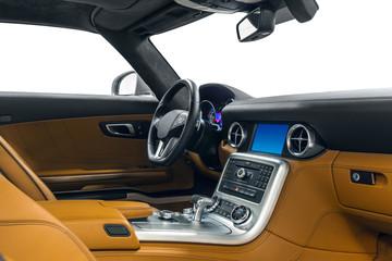 Car interior sport with orange & black leather