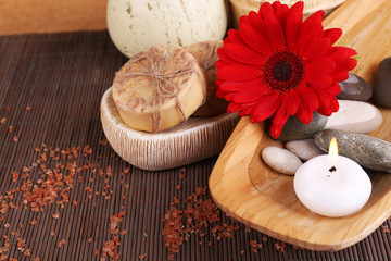 Composition of spa stones, sea salt and massage bags