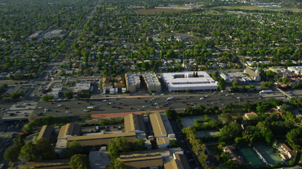 Aerial view of California Suburbs and freeway