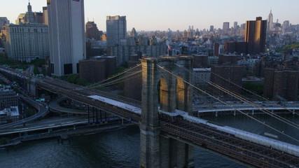 Aerial view of Brooklyn Bridge New York City