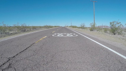Route 66 Pavement Sign Moving Shot