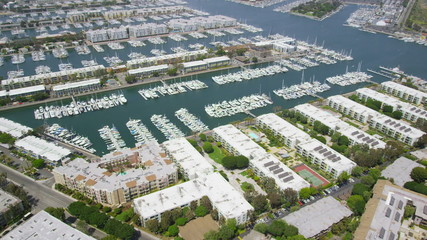 Aerial California Suburban Homes & yachts