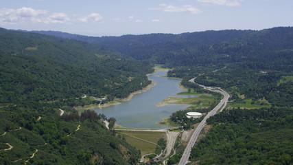 Aerial view of a Californian Reservoir