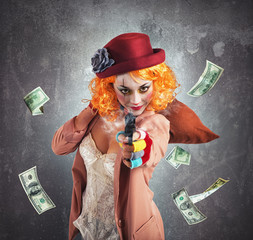 Clown thief steals money