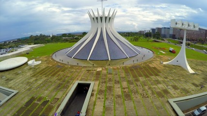 Aerial View of Famous Cathedral of Brasilia, Brazil