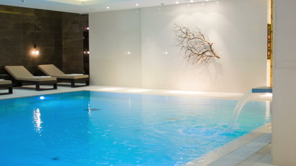 view inside the room with a swimming pool