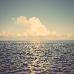 sea ocean cloud blue sky retro vintage