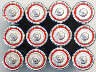 group of commercial primary battery, alkaline battery in the top