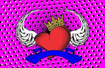 winged heart ribbon tattoo background8