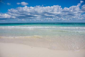 Swimming Tulum beach, caribbean paradise, at Quintana Roo, Mexic