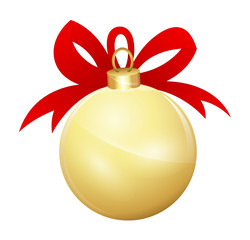 Decorative Christmas Golden Ball with Ribbon Bow