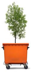 Blank refuse bin with green ash tree