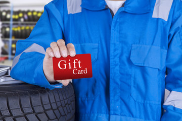 Mechanic with a gift card