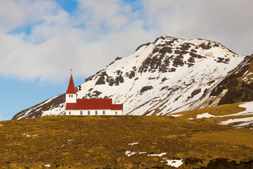 Countryside church on hill during winter season