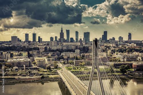 Panel Szklany Warsaw skyline behind the bridge vintage view, Poland