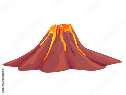 Leinwanddruck Bild Volcano flowing with hot molten lava vector image