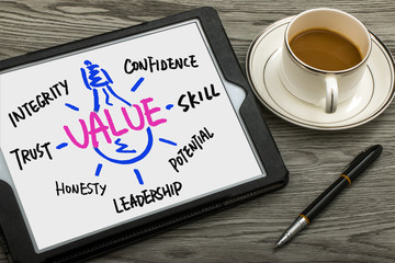 value concept hand drawing on tablet pc
