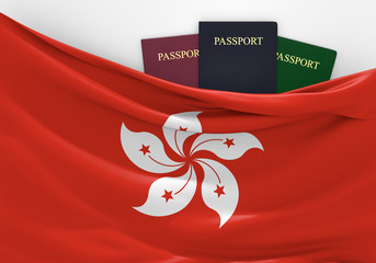 Travel and tourism in Hong Kong, with assorted passports