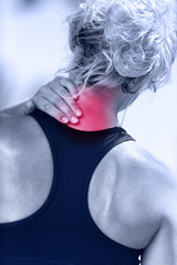 Hurting neck - female runner showing pain with red