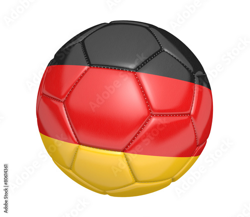 Leinwanddruck Bild Soccer ball, or football, with the country flag of Germany