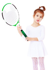 Adorable little girl with a badminton racquet